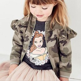 Wholesale Cute Jackets Free Shipping - BST31 autumn style cute camouflage uniform ruffles style zipper jacket spring fall girl kids casual jacket coat free shipping