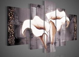 Wholesale Texture Wall Hand - 100%Hand Painted wall art Texture of white lilies landscape Oil Painting on canvas 5piece set,HH012