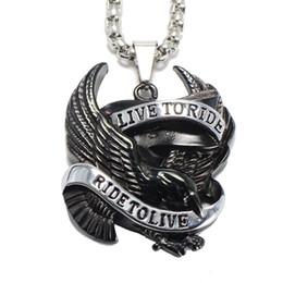 Wholesale Men Gold Eagle Necklace - Live To Ride Pendant Necklace Totem Eagle Titanium Steel Necklaces Punk Rock Style Neck Jewelry For Men Gift