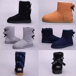 Wholesale High Quality Winter Boots - High Quality New WGG Women's Australia Classic kneel Boots Ankle boots Black Grey chestnut navy blue Women girl boots US 5--10