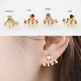Wholesale Cute Pink Stud Earrings - 60pairs promotion High Quality KISS earrings crystal cute enamel earring studs women ear jewelry 4 colors black white red pink