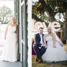 Wholesale Top Strapless Plus - Plus Size Sweetheart A-line Wedding Dresses Strapless Ruffles Crystal Beading Charming Backless Oversize Custom Bridal Gowns Top Designer