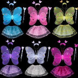 Wholesale Wings Skirt - Kids Fairy Princess Costume Sets Colorful Stage Wear 2 Layers Butterfly Wings Wand Headband Tutu Skirts 4pcs Set OOA3577