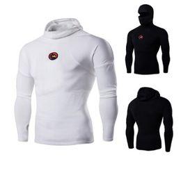 Wholesale Mask M - New Fashion Personality T-shirt Long Sleeve Head Masked Turtleneck Collar Badge long Sleeved T-shirt
