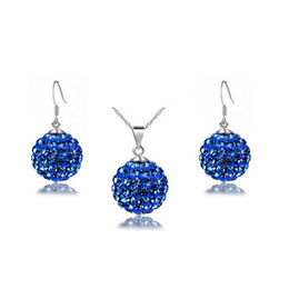Wholesale Candy Silver Balls - Candy color Shambhala ball Full Rhinestone Necklace Earrings Sets Fashion Austria Crystal Jewelry Sets For Women Best Jewelry G159