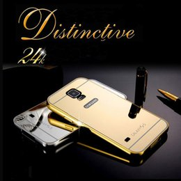 Wholesale S4 Bumpers - Luxury Aluminum Metal Bumper Frame Case with Electroplated Mirror Back Cover Skin for Samsung Galaxy S4 S5 S6 Edge  Plus S7 Edge Note 3 4 5