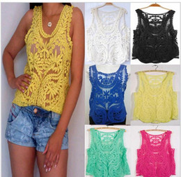 Wholesale Crochet Shirts For Women - 2015 summer girls women lace vest blouses Sexy gauze embroidery crochet vest lace shirts solid cape hollow out blouse for women plus size