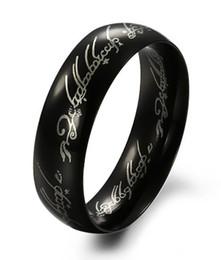 Anéis de noivado lisos on-line-Moda Mens Senhor dos Anéis De Aço Inoxidável Titânio Personalizado Bandas De Casamento Noivado anel Suave Preto 6mm