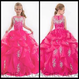 Wholesale Girls Pageant Dresses Shiny - 2015 Cute Glitz Little Girls Pageant Dresses Children Princess Shiny Heavy Beaded Kids Flower Girl Dress Fuchsia Kids Prom Dresses