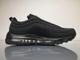 Wholesale Casual Tennis - New 2017 Air 97 OG Black Bullet Running Shoes Silver 97s Fashion Athletic Casual Sports Mens Sneakers Athletics Shoes Best Quality Boosts