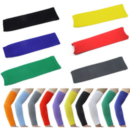 Wholesale Green Basketball Shooting Sleeve - 1 PC Baseball Golf Basketball Sport Shooting Sleeve Stretch Wristband Arm Band Sleeve Sport Sun UV Protection Bicycle Armwarmers