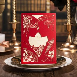 Wholesale Cut Out Bride Groom - Customized Printing Laser Cut Red White Hollow-out Bride and Groom Engagement Wedding Invitations Wedding Card free shipping