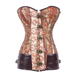 Wholesale Corset Metal - Wholesale-New Brown Metal Ring Buckle Steel Boned Corset Waist Training Corset Woman Body Shaper Waist Cincher Corset Punk Corselets S-2XL