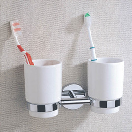 Wholesale Double Wall Ceramic Cup - Chrome-plate Brass Bathroom Double Tumbler Holders with Ceramic Cup, Wall Mounted Toothbrush Holders for Sale Wholesale