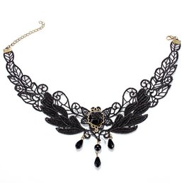 Wholesale Rose Lace Choker - Wholesale-2015 New Arrivals Ladies Gothic Lolita Retro Black Beads Pendant Rose Lace Collar Choker Necklace Fashion Jewelry Accessories