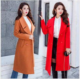 Wholesale Women Trench Coat Korean - 2018 autumn and winter new Korean version of the temperament solid color fashion wild long coat jacket coat trench coat