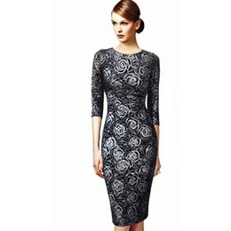 Wholesale Long Sleeve Womens Work Elegant - MFDRESS 2016 Womens Elegant Floral Print Vintage Fitted Casual Stretch Formal Party Sheath Bodycon Pencil Dress S-3XL