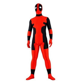 Wholesale Body Suit Cosplay - red and black deadpool costume Halloween Cosplay Party Zentai Suit full body zentai costume