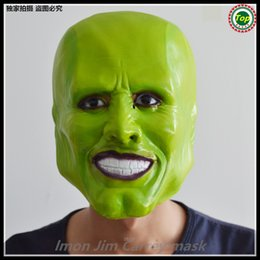Wholesale Film Characters - Free shipping Wholesale Loki Latex Green Mask Jim Carrey Costume Fancy Dress Halloween Film Props Zenomorph Role Character