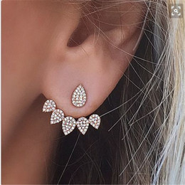 Wholesale Earing Piercing - Double Sided Stud Earring For Women Piercing Earing Jewelry Fashion Silver Gold Color Rhinestone Crystal Water Drop Stud Earring
