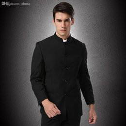 Wholesale Traditional Chinese Images - Men Formal Business Suits Pants Chinese Tunic Suits Black 2015 New Arrival Traditional Mandarin Plus Size