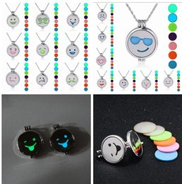 Wholesale Glow Lockets - Emoji Perfume Essential Oil Diffuser Locket Necklace 17 styles Smile Expression Glow In the Dark luminous Aromatherapy Lockets Necklaces