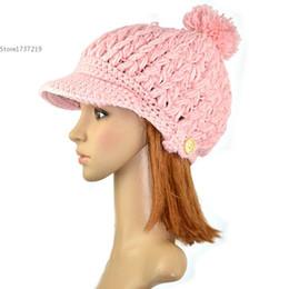 Wholesale Hat Cap Flight - Wholesale-Women's Wool Winter Hat Thick line hat Ball Cute Hat Warm Flight Hat Peaked Cap