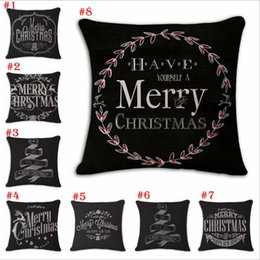 Wholesale Hand Painted Cushions - Christmas Cotton and linen Hand painted illustration Pillow case household sofa cushion cover Christmas Pillowcase decoration YYA785