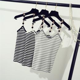 Wholesale Girls Stripped Tops - Summer Women V-Neck Elastic Knitting Camisoles Lady Sleeveless Knitted T-Shirts Female Stripped Tank Tops Girls Basic Tees