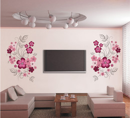 Wholesale Pink Flower Stickers - Pink Flower Blossom Wall Decal Sticker TV Background Flower Tree Wall Art Mural Poster Removable Living Room Bedroom Home Decoration Sticker