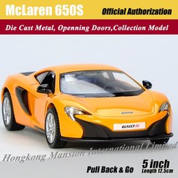 Wholesale Roadsters Cars - 1:36 Scale Alloy Diecast Metal Car Model For McLaren 650S Collection Model Pull Back Roadster Toys Car -Orange Blue White Yellow