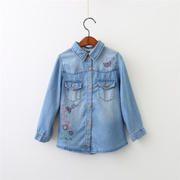 Wholesale blue denim blouse - Girls Butterfly Floral Embroidered Denim Blouses Lovely Kids Button Pocket Fall Shirts B11