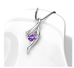 Wholesale Korean Crystal Necklaces - The mood for love 925 Sterling silver necklace pendant Korean Europe and retro natural crystal pendant jewelry