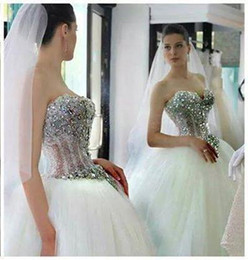 Wholesale Sweetheart Ball Gown Sparkle Beaded - 2016 sparkling crystal princess ball gown wedding dresses sweetheart see-through beaded bodice lace-up tulle chapel train bridal gowns