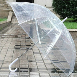 Wholesale Clear Plastic Umbrellas Wholesale - 2016 Fashion clear transparent umbrella EVC Long handle rain sun beach umbrellas see through summer holidays children gifts OEM New