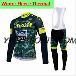 Wholesale Team Saxo Bib - 2015 SAXO BANK Cycling Team winter Fleece cycling jersey long sleeve Cycling clothing+(bib) Pants Set winter thermal fleece cycling clothing