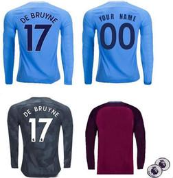 Wholesale Free Packet - Long Sleeve MANches 2017 2018 City G.Jesus AGUERO SILVA Soccer Jerseys DANILO MENDY DE BRUYNE football Shirts Embroidery Logo free E-packet
