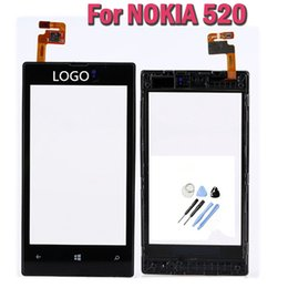 Wholesale Touchscreen Digitizer Parts - Wholesale-One pcs Original Touchscreen For Nokia LUMIA 520 LCD Display Touch Screen digitizer With Frame Replacement Parts +Tools FreeShip