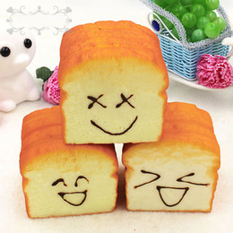 Wholesale Jumbo Squishy Toast - Kawaii Toast Squishy Toys Bread Cake Slow Rising Smile Face Jumbo Squeeze Phone Charms Stress Reliever Kids Christmas Gift