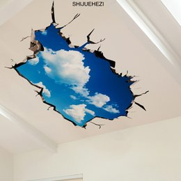 Wholesale 3d Ceiling Stickers - [SHIJUEHEZI] Sky Clouds 3D Ceiling Stickers PVC Material Wall Stickers DIY Floor Decals for Kids Rooms Living Room Decoration
