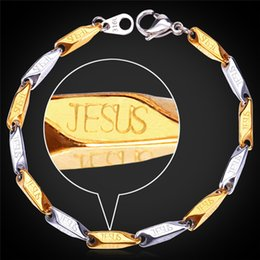 Wholesale Yellow Gold Filled Jewelry - Two-Tone Jesus Bracelets Gift New Fashion Jewelry Stainless Steel 18K Yellow Gold Plated Chains For Women Men GH1146