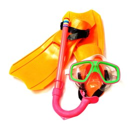 Wholesale Kids Swimming Masks - Children Diving Mask Scuba Anti-Fog Goggles Kids Scuba Mask Fins Flippers Set Swimming Goggles Large PVC Mask Design JL113F