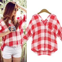 Wholesale Girls Tops Blouses - New Women's Plaid Loose Shirts Girl Casual Oversized Blouse Plus Size V-neck Summer Fashion Tops M-5XL