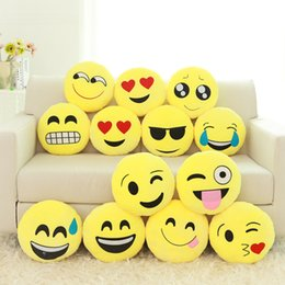 Wholesale Plush Toys Manufacturers - Wholesale- Manufacturers selling QQ expression pillow doll plush toys emoji 32 cm lovely smiling face round pillows