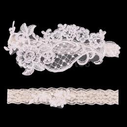 Wholesale Garter Accessories - Wholesale-2pcs Wedding Bridal Garter White Lace Flower Rhinestone Garter Women Bride Garter Set Accessories 1 to Keep 1 to Throw