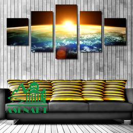 Wholesale Sunrise Oil Painting - 5 Piece Amazing Skyline Sunrise Painting Oil Canvas HD Print Picture Unframed Mural Art Modern Home Wall Decor