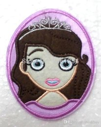 Wholesale Princess Sofia Fabric - Lot 50 pcs cartoon Sofia the Frist Princess Iron On or Sew on Patch Sticker, Fabric Cloth Patches, Kids Cloth DIY Accessories 0501#