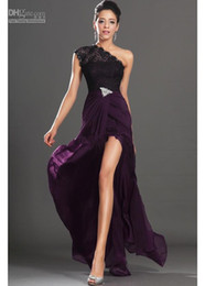 Wholesale Nude Chiffon One Shoulder Dress - Dark Purple 2015 New Arrival Evening Dresses One Shoulder Black Lace Crystals Pin Red Carpet Gowns Sexy Prom Gowns Dresses new design 2016