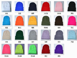 Wholesale Cuffed Spring Beanie Hat - Plain Beanie Knit Ski Cap Skull Hat Warm Solid Warm Cuff Blank Beanies Caps Fluorescence Color Knitting Crochet Hat For Men Women JY