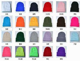 Wholesale Acrylic Blanks - Plain Beanie Knit Ski Cap Skull Hat Warm Solid Warm Cuff Blank Beanies Caps Fluorescence Color Knitting Crochet Hat For Men Women JY